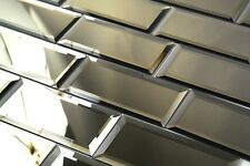 "Subway 3"" x 6"" Beveled Glass Mirror Peel & Stick Decorative Wall Tile Backsplash"
