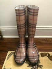 Burberry Haymarket Check Rubber Rain Boots (US 7/IT 37)