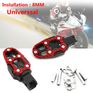 Motorcycle Aluminum Alloy Pedal Non-slip Backfoot Foot Pegs Red Belt Spring 8MM