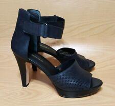 Via Spiga Black Ankle Strap Open Toe Platform Pumps Hells Womens Shoes 9.5 M