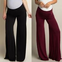 Women Maternity Solid Loose High Waist Pants Pregnant Belly Wide Leg Trousers ED
