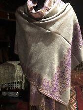 Vintage Style Knit Brocade Gray Purple Pashmina Paisley Scarf Wrap Shawl
