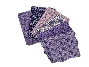 Fabric Fat Quarter | Calico Purple #P02 | Precut Quilting Cotton | Set of 6