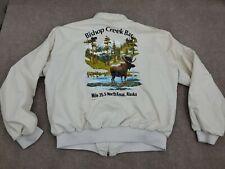 Mens Xl Bomber Jacket Vintage 80s Usa Bishop Creek Bar Kenai Alaska Coat Biker