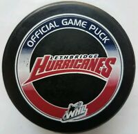 LETHBRIDGE HURRICANES WHL OFFICIAL GAME PUCK LINDSAY MFG. MADE IN CANADA HOCKEY