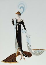 "ERTE ""DIRECTOIRE"" OFFSET LITHOGRAPH FRAMED ART DECO PRINT ROSS GALLERY TAG"