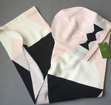 NEW $148 KATE SPADE bow muffler / scarf and beanie set pink black cream