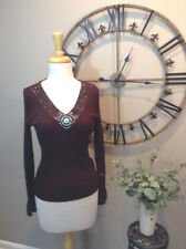 Belldini Brown Knit Top Sweater with Beaded Neckline, Sz S