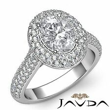 2 Row Halo Pave Set Oval Diamond Engagement Ring Gia F Vs2 18k White Gold 3ct
