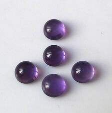 5 Pieces 5X5 MM Round Cut Natural African Purple Amethyst Cabochon Gemstone Lot