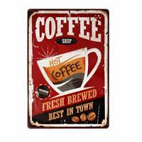 "Coffee Shop Fresh Brewed Coffee Retro Tin Metal Sign 8"" x 12"""