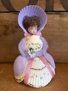 Vintage Sea Shell Art Sculpture Girl Doll Purple Dress Hat