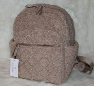 Vera Bradley Iconic Small Backpack Bag Purse in Sherpa Ginger Snap Brown NWT