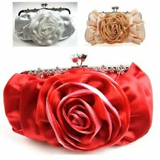 WOMENS SOFT SILK SATIN FLOWER CLUTCH BAG WEDDING PARTY WHITE RED APRICOT