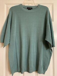 Anthology Men's XXL Short Sleeve Sweater Teal Green EUC