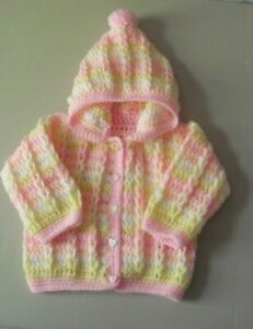 New Hand Crochet/Knit Baby Girls Pink & Multi Hooded Cardigan Fit 6-12 Months