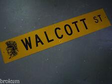 "Vintage ORIGINAL WALCOTT ST STREET SIGN 48"" X 9"" BLACK LETTERING ON YELLOW"