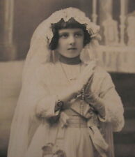 LATE 1800's GIRL 1st COMMUNION NICE DRESSED w/LILIES CABINET  PHOTO