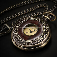 Steampunk Mechanical Half Hunter Vintage Retro Copper Pendant Pocket Watch FOB