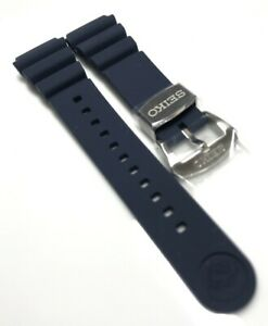 Original Seiko Blue ( Navy)  Rubber Band Soft Silicon Strap 22mm  R02Y012J9