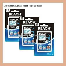 3 x Listerine Reach Dental Floss Pick 50 Pack Flosser Remove Food Plaque