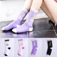 Women Lolita Socks Harajuku Letter Moon Printed Funny Hip Hop Socks Cotton Socks