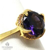 Gorgeous Purple Amethyst Ring Women Anniversary Jewelry 14K Yellow Gold Plated