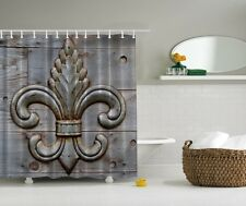 Rustic fleur-de-lis Graphic Shower Curtain Wooden Deck French Lily Bath Decor