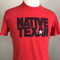 VTG '87 NATIVE TEXAN TEXAS LOGO RED SINGLE STITCH USA MADE 80s T SHIRT SIZE L