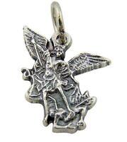 Silver Tone Archangel Saint St Michael Medal Charm, 3/4 Inch