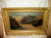 19th C. FRENCH NAIVE LANDSCAPE LAKE OIL PAINTING FARMHOUSE CHIPPY GILT FRAME