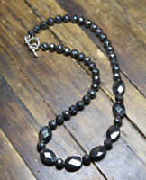 Hematite Natural Silver Black Faceted 8mm Ball & Oval Gemstone Necklace 18.5""