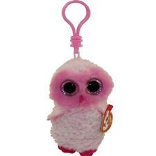 """TY Beanie Boos 3"""" TWIGGY Pink Owl Plastic Key Chain Clip w/ MWMT's Ty Heart Tags"""