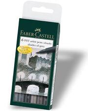 FABER Castell Pitt artista penne Pennello GRIGI Wallet Set di 6 Penne