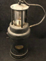 ARRAS Lampe de Mineur Ancienne Verre Baccarat Antique French Safety Lamp