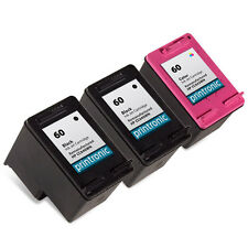 3pk Printronic For HP 60 Color Black Ink Cartridge Photosmart D110