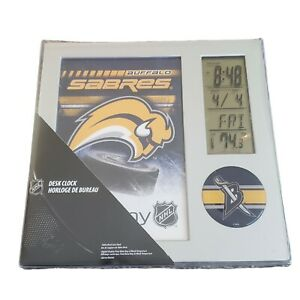 Buffalo Sabres Desk Clock / Date / Temperature Vintage Slug Logo NHL Official