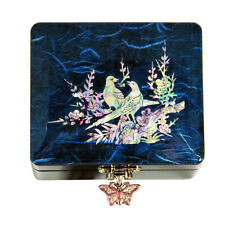 Lacquer Jewellry Box, Mother Of Pearl Inlay, Lover Birds Design With mirror