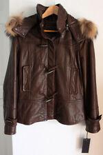 Andrew MARC New York NY Women's Brown Leather Jacket Coat Raccoon Fur Hood SMALL