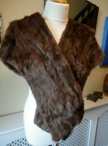 Vintage 1950s Chocolate Brown Fur Stole/Cape/Wrap/Shawl. Satin Lined With Pocket