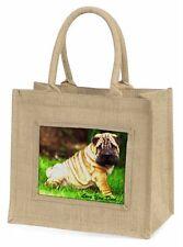 Shar-Pei Dog 'Love You Dad' Large Natural Jute Shopping Bag Christma, DAD-109BLN