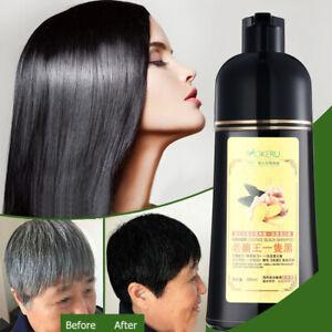 Mokeru Ginger Herbal Instant Black Hair Dye Shampoo For White Hair Coloring