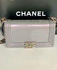 Chanel Iridescent Boy Medium Light Gray Purple PHW Leather Flap Handbag Bag 12P