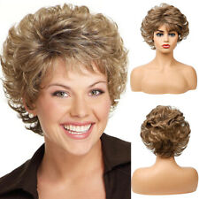 Ladies Women Short Wavy Wigs Ombre Brown Blonde Pixie Cut Full Party Wig Fashion
