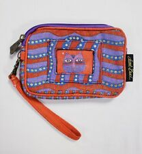 Laurel Burch Abstract Cat Striped Wristlet ID Pouch Case Smart Phone Bag Clutch