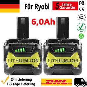 Für Ryobi P108 Akku 18V 6,0Ah Lithium ONE Plus RB18L50 Batterie RB18L40 P104 NEU