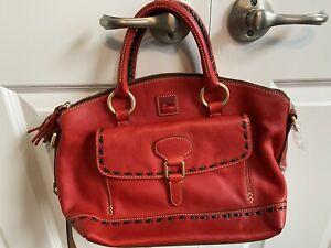 Dooney Bourke RED Leather Front Pocket Satchel Bag