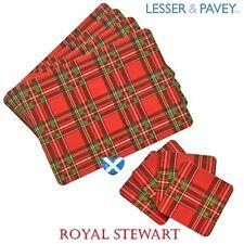 Royal Stewart Tartan Dinner Table Mat Placemats & Drinks Coaster Set NEW BOXED