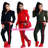 Fashion Lady Women  Long Sleeve Zipped Sports Casual 2-Piece Play Suit Jumpsuit
