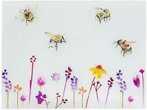 Busy Bees Glass Chopping Cutting Board Worktop Saver Kitchen Bread Board